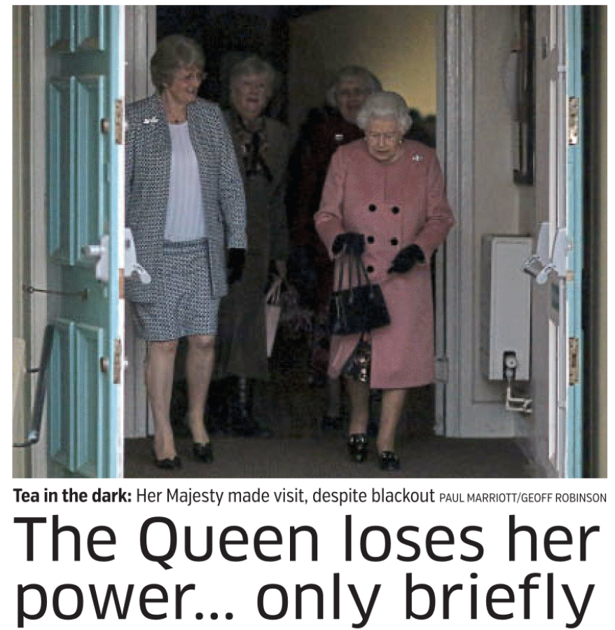 Queen in power cut