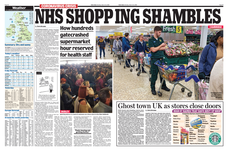 Selfish Shoppers Invade NHS Hour