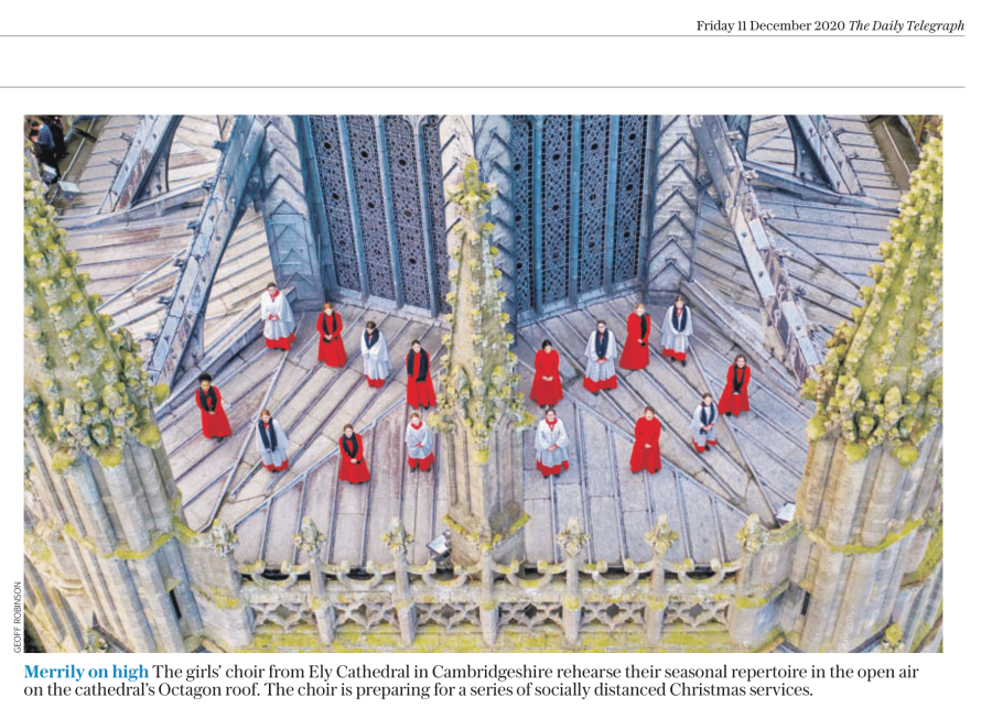 Ely Girl Choristers Sing On Roof
