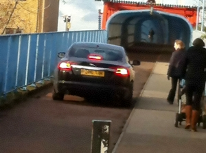 Car on cycle path